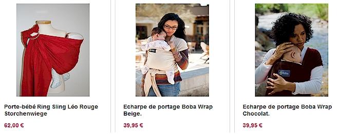 Sélection d'écharpes de portage de chez Unecuillerepourdoudou